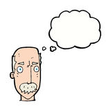 Cartoon annoyed old man with thought bubble Royalty Free Stock Photos