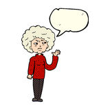 Cartoon annoyed old woman waving with speech bubble Royalty Free Stock Image