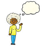 cartoon annoyed old woman waving with thought bubble Stock Photo