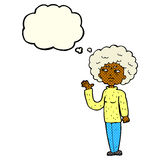 Cartoon annoyed old woman waving with thought bubble Stock Photography
