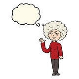 Cartoon annoyed old woman waving with thought bubble Stock Images