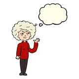 Cartoon annoyed old woman waving with thought bubble Stock Image