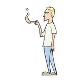 Cartoon annoyed smoker Stock Images