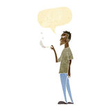 cartoon annoyed smoker with speech bubble Royalty Free Stock Photography