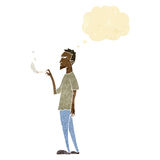 cartoon annoyed smoker with thought bubble Stock Photo