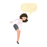 Cartoon annoyed woman rubbing knee with speech bubble Royalty Free Stock Photography