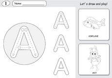 Cartoon ant and aircraft. Alphabet tracing worksheet: writing A- Royalty Free Stock Photos