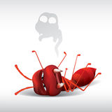 Cartoon ant dead Royalty Free Stock Images