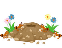 Cartoon Anthill in the forest land Stock Photography