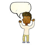 Cartoon anxious man with speech bubble Royalty Free Stock Photo