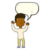 Cartoon anxious man with speech bubble Royalty Free Stock Photos