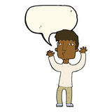 Cartoon anxious man with speech bubble Royalty Free Stock Images