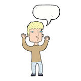 Cartoon anxious man with speech bubble Royalty Free Stock Photography