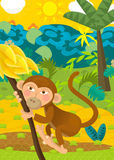 Cartoon ape - natural theme in background Royalty Free Stock Image