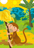 Cartoon ape - natural theme in background. Beautiful illustration for the children Royalty Free Stock Image