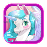 Cartoon app icon with cute unicorn face. Stock Images