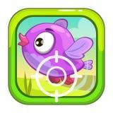 Cartoon app icon with funny bird. Stock Photos