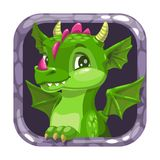 Cartoon app icon with funny green young dragon. royalty free stock images