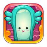Cartoon app icon with funny slimy alien character. Stock Photography