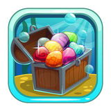 Cartoon app icon with treasure chest. Cartoon app icon with treasure chest on the sea bottom. Application store item template. Vector asset for game or web Stock Photo