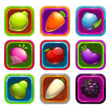 Cartoon app icons with fruits and vegetables. Cartoon app icons with colorful fruits and vegetables, vector GUI assets, game or web design elements Royalty Free Stock Photo