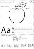 Cartoon apple and aircraft. Alphabet tracing worksheet: writing Stock Photos