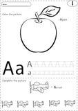Cartoon apple and aircraft. Alphabet tracing worksheet: writing Stock Photos