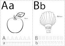 Cartoon apple and balloon. Alphabet tracing worksheet: writing A Stock Images
