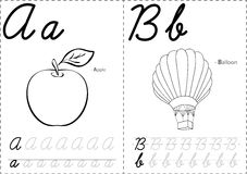 Cartoon apple and balloon. Alphabet tracing worksheet: writing A Stock Photos