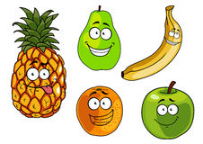 Cartoon apple, banana, orange, pineapple and pear Stock Photo