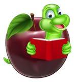 Cartoon Apple Bookworm Stock Images