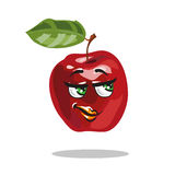 Cartoon apple character with smart look vector Royalty Free Stock Photo