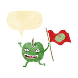 cartoon apple with flag with speech bubble Stock Photography