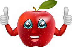 Cartoon apple giving thumbs up Royalty Free Stock Images