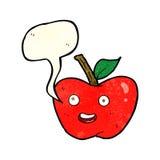 cartoon apple with speech bubble Stock Photo