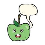 cartoon apple with speech bubble Stock Image
