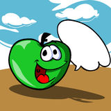 Cartoon apple with speech bubble Royalty Free Stock Image