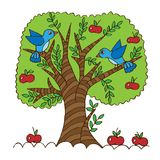 Cartoon apple tree isolated on white background. For coloring book and other design royalty free illustration
