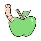 Cartoon apple with worm Stock Image