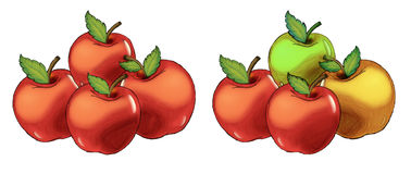 Cartoon apples set - isolated. Beautiful and colorful illustration for the children Royalty Free Stock Images