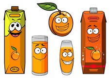 Cartoon apricot fruit, juice and glasses Royalty Free Stock Photography