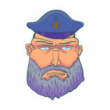 Cartoon Сaptain sailor face with Beard and Cap. Vector Royalty Free Stock Images