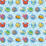 Cartoon Aquarium animal seamless pattern Royalty Free Stock Photos
