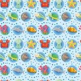 Cartoon Aquarium animal seamless pattern Royalty Free Stock Photos