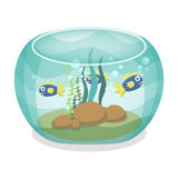 Cartoon aquarium with fishes Stock Image