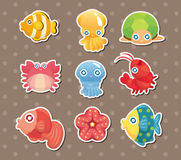 Cartoon aquatic anima stickers Royalty Free Stock Photo