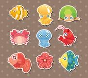 Cartoon aquatic anima stickers. Cartoon vector illustration Royalty Free Stock Photo