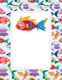 Cartoon aquatic animal card Stock Photography