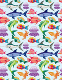 Cartoon aquatic animal seamless pattern Stock Image