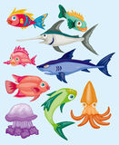 Cartoon aquatic animal set Stock Images